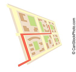 rotated map in perspective and red arrow - vector city blocks