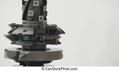 Rotated milling cutter - industrial milling machine cutting metal - copy space