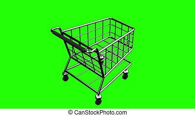 Rotated Shopping Cart On Green Chroma Key