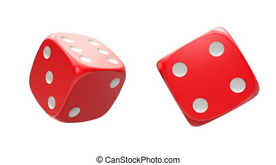 Rotated two red dice, seamlessly loopable with alpha mask -...