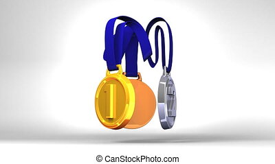Rotating 3 Medals - Rotating 3Medals On White Background....