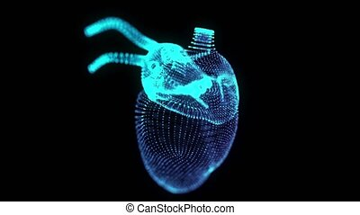 Rotating 360 degree hologram of human heart. Glowing blue light particles point of human heart model. Seamless looping motion animated in 3d virtual space