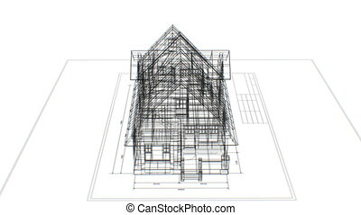 Rotating 3d Blueprint of Abstract Cottage on Engineering...