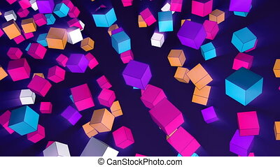 Rotating 3d cubes of different trend colors flying in space...
