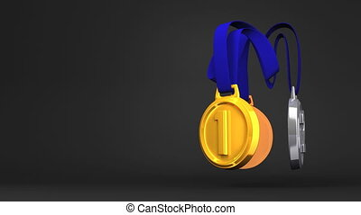 Rotating 3Medals On Black Text Space. Loopable 3D render Animation.