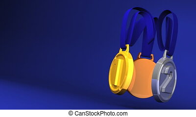 Rotating 3Medals On Blue Text Space. Loopable 3D render Animation.