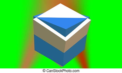 Rotating abstract 3d geometric body composed of two cubes on green screen, red lights point light on background