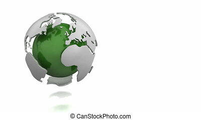 Rotating abstract green globe isolated on white background