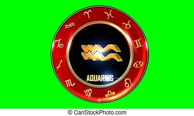 Rotating AQUARIUS western Zodiac Symbol
