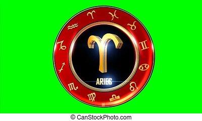 Rotating ARIES western Zodiac Symbol