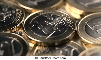 rotating background of one euro coins