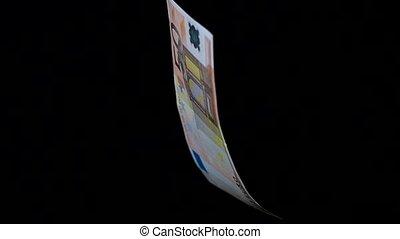 Rotating banknote closeup - Banknote 50 euro denomination is...