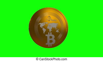 Rotating Bitcoin on a green background, seamless looping 3d animation
