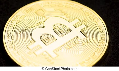 Rotating bitcoin, seamless loop - Bitcoin cryptocurrency...