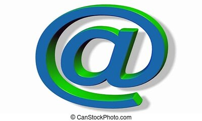 rotating blue green email @ sign