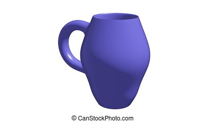 Rotating blue pitcher on white background