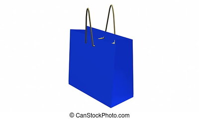 Rotating blue shopping bag on white