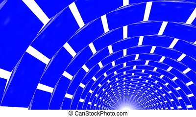 rotating blue three-dimensional rectangles. 3d render -...