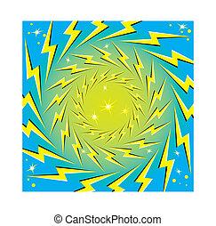 """""""rotating, bolts"""", lightning"""