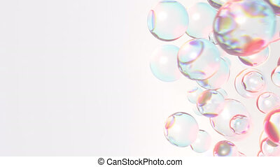 Rotating bunch of glass spheres with dispersion rainbow colors loop. Background for cosmetics or fashion. 3D render seamless animation.