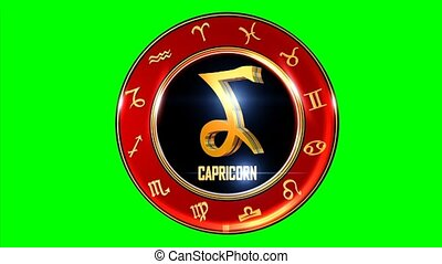 Rotating CAPRICORN western Zodiac Symbol