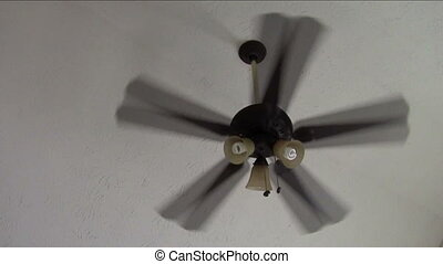 Rapidly rotating ceiling fan
