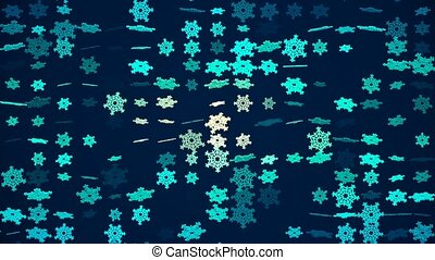 Rotating changing snowflakes on blue