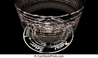 rotating incantation & rune around witchcraft pentagram baphomet, dazzling energy rays light.