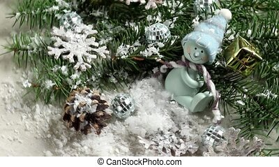 Rotating Christmas decoration with toy snowman and Christmas tree