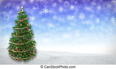 rotating Christmas tree on blue winter background. 3D render.seamless loop