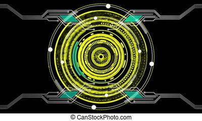 Rotating circles on black background