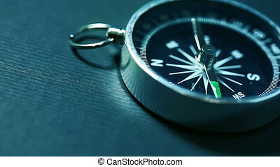 Rotating compass arrow. Tool for navigation HD video 1920x1080. Shalow depth of field