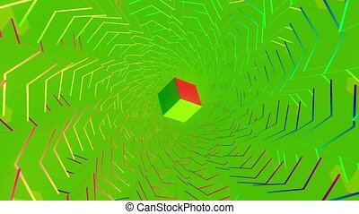 Rotating cube in green tunnel