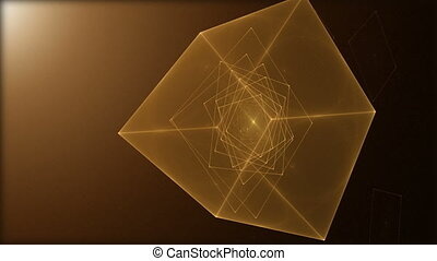 Rotating Cube Loop - Cube spinning on black background,...
