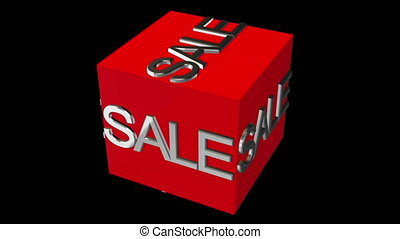 Rotating cube with sale concept on black background