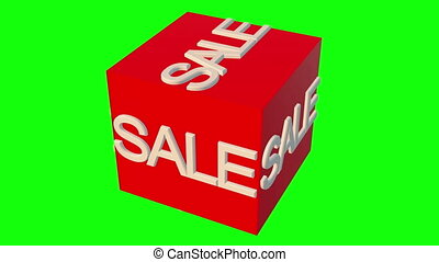 Rotating cube with sale concept on green screen