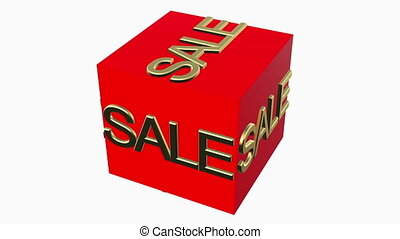 Rotating cube with sale concept on white