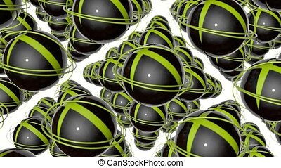 rotating dark spheres and yellow rings. abstract 3d rendering