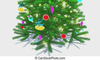 Rotating decorated christmas tree