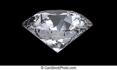 Rotating diamond loop on black background