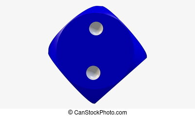 Rotating dice in blue color on white