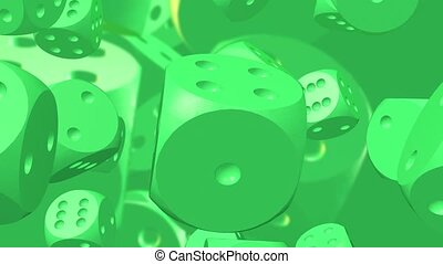 Rotating dices in green