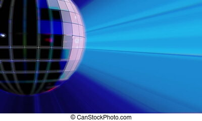 Rotating disco ball with blue light rays