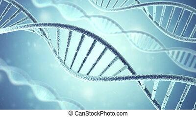 Rotating DNA, Genetic engineering scientific concept, blue...