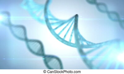 Rotating DNA - With formula background, dark blue tint. High...