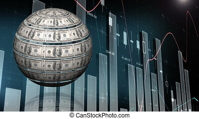 Rotating dollar bill sphere on background of charts and statistics