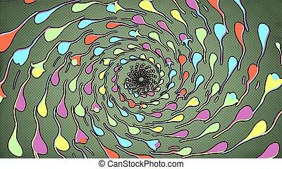 rotating dot pattern dark green