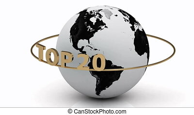 TOP 20 around the earth - Rotating earth and the inscription...