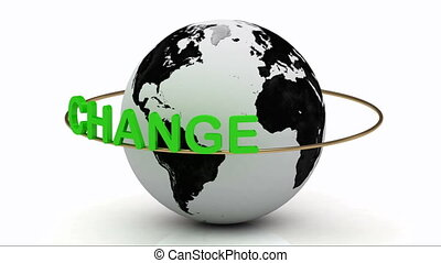 CHANGE around the earth - Rotating earth and the inscription...