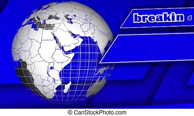 Rotating earth globe in front of moving blue abstract ...